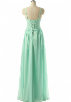 Spaghetti Straps Pleated Chiffon Bridesmaid Dress with Corset