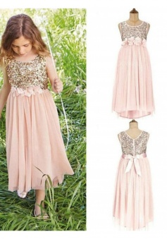 Scoop Neck Sequin Top Floral belt with bowknot Junior Bridesmaid Dress with Chiffon Skirt