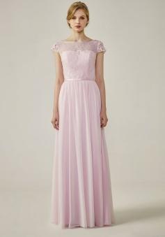 Cap Sleeves Lace Illusion Back Scoop Neckline Bridesmaid Dress
