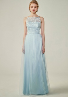 Tulle Lace Illusion Boatneck and Back Bridesmaid Dress with Keyhole