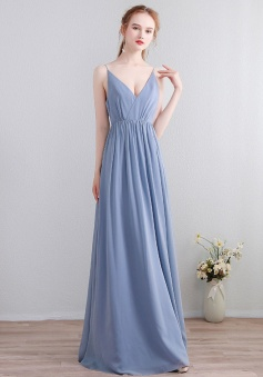 V Neck Ruffle Back with Lace Spaghetti Straps Chiffon Bridesmaid Dress