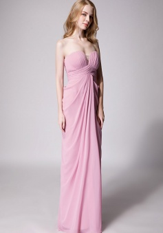 Strapless Sweetheart Chiffon Drape Bridesmaid Dress Long