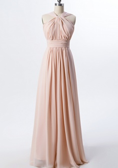 Twisted Halter Neck Pleated Bodice Illusion Back Chiffon Long Bridesmaid Dress