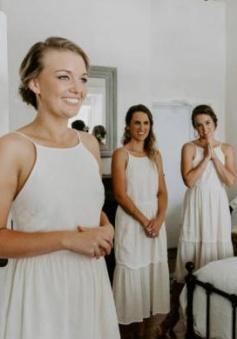 Scoop Stitching Halter Chiffon Bridesmaid Dress Short