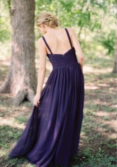 Straps Criss-Pleated V Neck Bridesmaid Dress Long