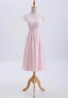 Cap Sleeves Scoop Neck Illusion Lace Back Short Bridesmaid Dress