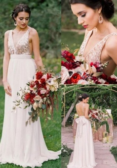 V Neck Sequin Top Tank Chiffon Bridesmaid Dress with Open Back
