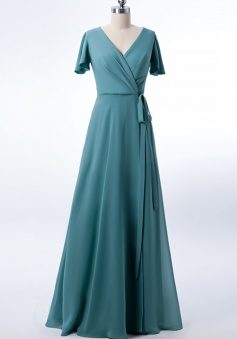 V-neck Short Sleeves Side Slit Skirt Chiffon Bridesmaid Dress with Belt