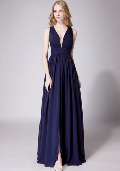 Sexy Deep V-Neck Plunging Silt Bridesmaid Dress with Keyhole Back