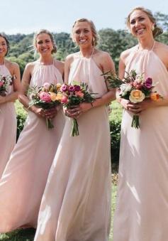 Bohemian Halter Ruffles Open Back Chiffon Bridesmaid Dress