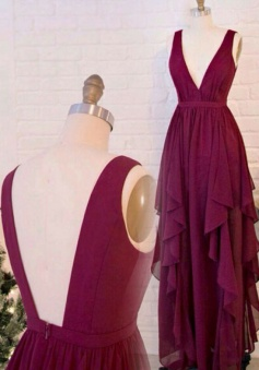 Deep V Neckline & Back Ruffled Bridesmaid Dress Long