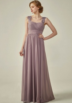Pleated Long Chiffon Open Back Lace Strap Bridesmaid Dress