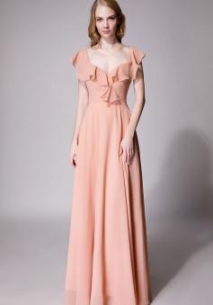 V Neck Cascading Ruffles Sleeve Bow Back Bridesmaid Dress