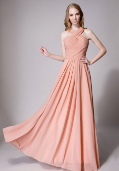 Chic Criss-cross Halter Pleated Chiffon Bridesmaid Dress Long