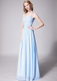 Spaghetti Straps Halter Neckline Front Cascade Bridesmaid Dress with Keyhole Back