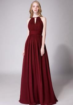 High-Neck with Keyhole Halter Tie Back Chiffon Bridesmaid Dress