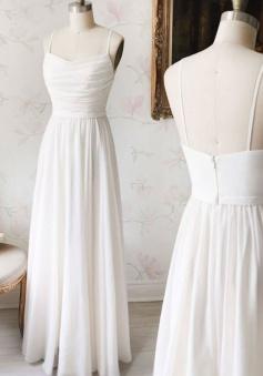Simple Spaghetti Straps Ruched Chiffon Bridesmaid Dress Long