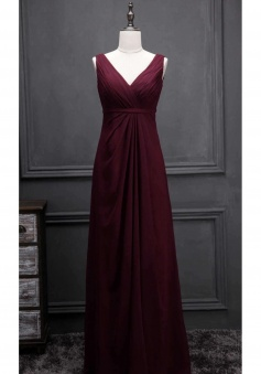 V Neck & Back Thin Sash Ruched Chiffon Bridesmaid Dress Long