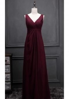 V Neck & Back Thin Sash Ruched Chiffon Bridesmaid Dress Long