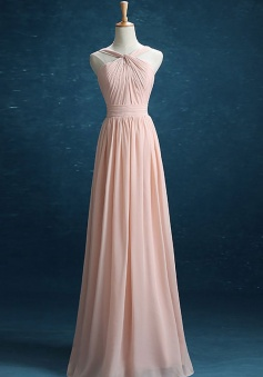 Criss-Cross Halter Neckline Straps Detail Back Bridesmaid Dress Long