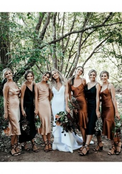 Spaghetti Straps Draped Collar Neckline Tea-Length Luxe Satin Bridesmaid Dress