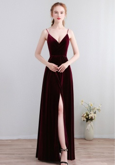 Velvet Spaghetti Straps Open Back Bridesmaid Dress with High Split