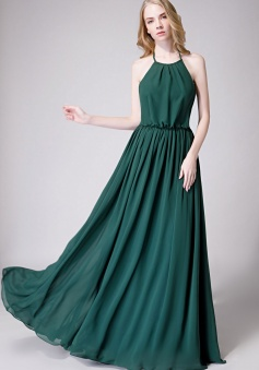 Halter Spaghetti Strap Open Back Chiffon Bridesmaid Dress with Sash