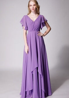 Flutter Sleeve Chiffon Ruched V Back Bridesmaid Dress Long