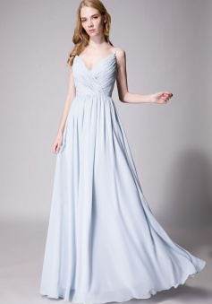 Spaghetti Straps Shell Neck Chiffon Bridesmaid Dress Open-back