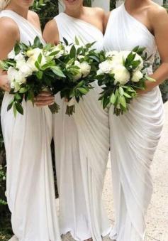 One Shoulder Draped Side Slit Bridesmaid Dress with Belt