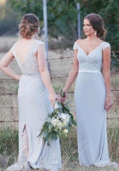 Lace Cap Sleeves V Neck & Back Bridesmaid Dress with Back Lace Slit
