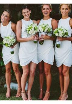 Scoop Draped Chiffon Bridesmaid Dress Short