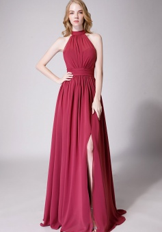 Illusion Neckline High Neck Halter Side Slit Chiffon Bridesmaid Dress with Keyhole