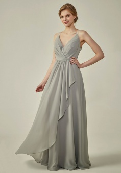 Lace Illusion Back Clousre Tulle Strap V-Neck Bridesmaid Dress with Ruffle