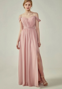 A-Line Cold Shoulder Spaghetti Straps Chiffon Bridesmaid Dress with Side Slit