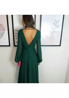 Deep V Neck & Back Long Sleeves Chiffon Bridesmaid Dress