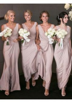 V Neck Ruched  Long Chiffon Tank Bridesmaid Dress