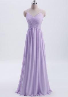 Spaghetti Straps Pleated Chiffon Bridesmaid Dress with Lace Open Back