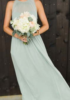 Spaghetti Straps Illusion Halter Bridesmaid Dress with Sash