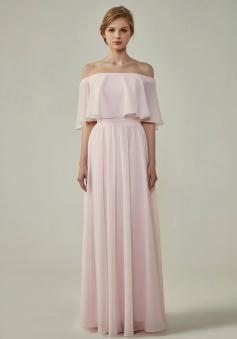 Bohemian Style Off Shoulder Chiffon Flounce Top Bridesmaid Dress