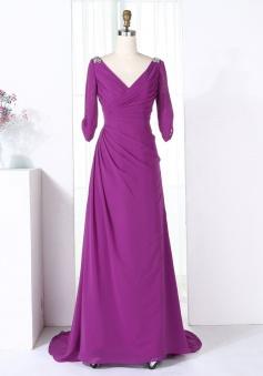 Sheath V-Neck Half Sleeves Purple Chiffon Beaded Bridesmaid Dress