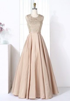 A-Line Round Neck Champagne Satin Bridesmaid Prom Dress with Beading