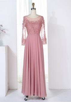 A-Line Bateau 3/4 Sleeves Blush Chiffon Bridesmaid Dress with Appliques