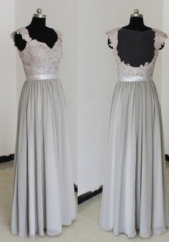 Elegant Sweetheart Floor Length Chiffon Silver Bridesmaid/Prom Dresses With Appliques