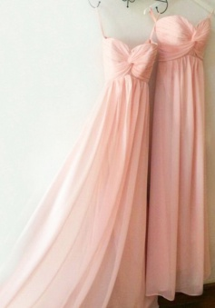Hot Selling Sweetheart  Floor Length Chiffon Pink Bridesmaid Dress With Ruched