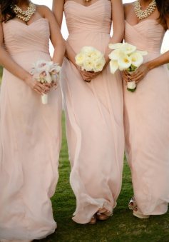 Elegant Sweetheart Floor Length Chiffon Sleeveless Peach Bridesmaid Dress With Ruched