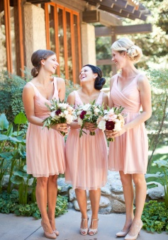 Simple V-neck Princess Short Chiffon Bridesmaid Dress/Wedding Party Dress  CHBD-70982
