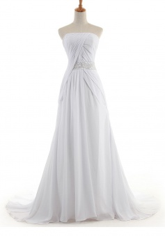 Elegant Strapless Sweep Train Ivory Bridesmaid Dress with Beading Pleats