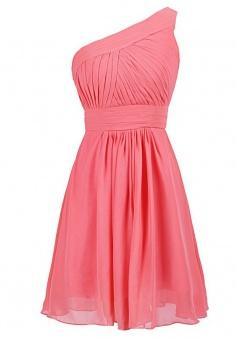 Hot Selling One Shoulder Knee Length Chiffon Core Bridesmaid Dress
