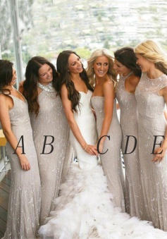 Mermaid Sweetheart Floor-Length Light Grey Tulle Bridesmaid Dress with Beading